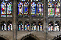 triforium, clerestory windows, central nave, Abbey church of Saint Denis, Seine Saint Denis, France. Picture by Manuel Cohen