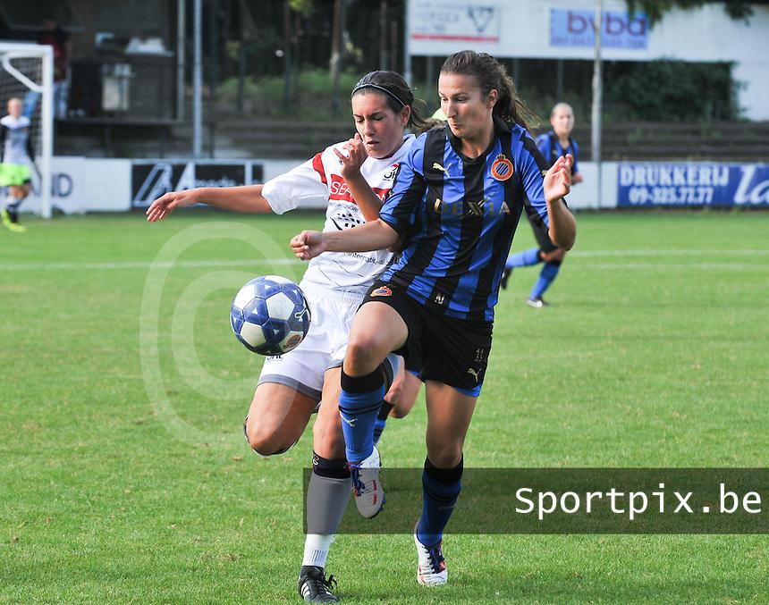 Club Brugge Dames - Oud Heverlee Leuven OHL Dames : duel tussen Ansje Bogaerts en Evy De Smedt.foto JOKE VUYLSTEKE / Vrouwenteam.be