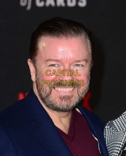 LONDON, UK: FEB 26: Ricky Gervais at the House Of Cards premiere of third series of Netflix's critically-acclaimed political drama based on the British book and 1990s TV series. London, England, February 26th, 2015.<br />  CAP/JOR<br /> &copy;Nils Jorgensen/Capital Pictures