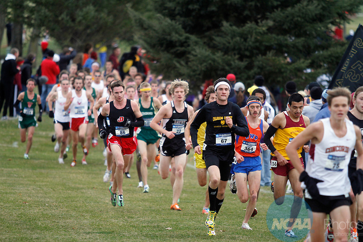 19 NOV 2011:  A pack of runners compete during the Division III Men's Cross Country Championship held at the Lake Breeze Golf Club in Winneconne, WI.  Ben Sathre won the individual national title with a 23:44.27 time.  Al Fredrickson/NCAA Photos