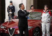 Il presidente del Consiglio Matteo Renzi durante la presentazione della nuova berlina Alfa Romeo Giulia a Palazzo Chigi, Roma, 5 maggio 2016.<br /> Italian Premier Matteo Renzi attends the presentation of the new Alfa Romeo Giulia sedan at Chigi Palace, Rome, 5 May 2016.<br /> UPDATE IMAGES PRESS/Isabella Bonotto