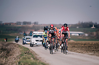 the breakaway group led by Frederik Frison (BEL/Lotto-Soudal) over the Pulstreets gravel roads<br /> <br /> 81st Gent-Wevelgem in Flanders Fields (1.UWT)<br /> Deinze &gt; Wevelgem (251km)