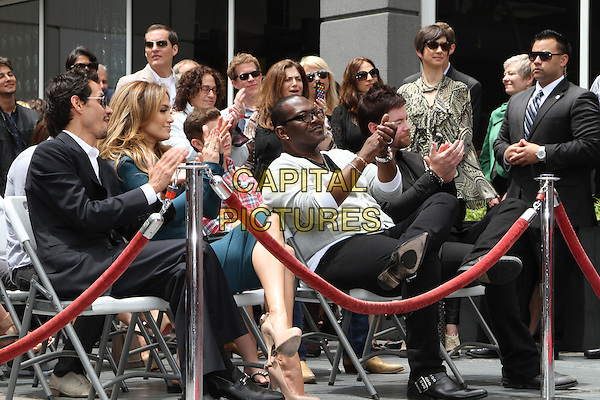 MARC ANTHONY, JENNIFER LOPEZ & RANDY JACKSON.Simon Fuller Hollywood Walk Of Fame Induction Ceremony  Held On Hollywood Blvd., Hollywood, California, USA..May 23rd, 2011.full length black suit white shirt profile sunglasses shades green dress married husband wife goatee facial hair crowd audience beige hands clapping grey gray cardigan sitting .CAP/ADM/KB.©Kevan Brooks/AdMedia/Capital Pictures.