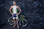 KAILUA-KONA, HI - OCTOBER 14:  Pete Jacobs of Australia and Caroline Steffan of Switzerland pose for a photo shoot after the 2012 IRONMAN World Championships on October 14, 2012 in Kailua-Kona, Hawaii. (Photo by Donald Miralle)