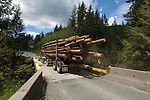 Logging truck crossing bridge over Harris Canyon between Port Renfrew and Cowichan lake.Vancouver Island, British Columbia, Canada.