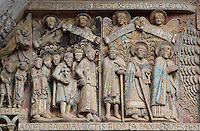The procession of the chosen ones led by Mary and St Peter, early 12th century Romanesque, carved by the Master of the Tympanum, from the tympanum of the Last Judgement above the portal on the West facade of the Abbatiale Sainte-Foy de Conques or Abbey-church of Saint-Foy, Conques, Aveyron, Midi-Pyrenees, France, a Romanesque abbey church begun 1050 under abbot Odolric to house the remains of St Foy, a 4th century female martyr. Also in the procession are Dadon, Begon and Charlemagne, historical figures with links to the Sainte-Foy. The church is on the pilgrimage route to Santiago da Compostela, and is listed as a historic monument and a UNESCO World Heritage Site. Picture by Manuel Cohen