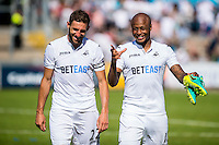 ( L-R ) Angel Rangel of Swansea City  and Andre Ayew of Swansea City during the Pre Season friendly match between Swansea City and Rovers played at the Memorial Stadium, Bristol on July 23rd 2016