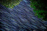 Long exposures of the Milky Way make up this star trail on Keuka Lake in Penn Yan, New York.