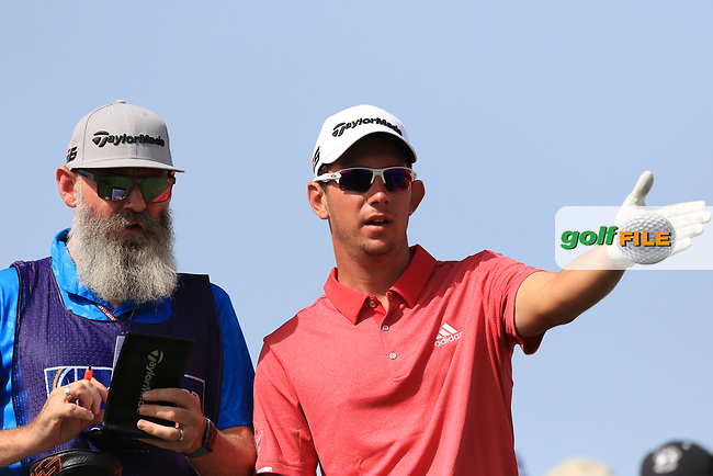 Lucas Herbert (AUS) with Nick Pugh (caddy) on the 4th tee during Round 3 of the Omega Dubai Desert Classic, Emirates Golf Club, Dubai,  United Arab Emirates. 26/01/2019<br /> Picture: Golffile | Thos Caffrey<br /> <br /> <br /> All photo usage must carry mandatory copyright credit (&copy; Golffile | Thos Caffrey)
