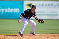 Grant Massey (18) of the Kannapolis Intimidators on defense against the Delmarva Shorebirds at Kannapolis Intimidators Stadium on April 13, 2016 in Kannapolis, North Carolina.  The Intimidators defeated the Shorebirds 8-7.  (Brian Westerholt/Four Seam Images)