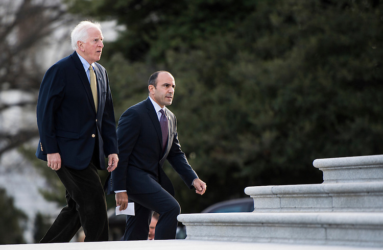 UNITED STATES - JANUARY 13: Rep. Mike Thompson, D-Calif., left, and Rep. Jimmy Panetta, D-Calif., walk up the House steps for votes in the Capitol on Friday, Jan. 13, 2017. (Photo By Bill Clark/CQ Roll Call)