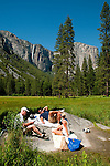 Picnic in meadow near El Capitan, Yosemite Valley, Yosemite National Park, California, USA.  Photo copyright Lee Foster.  Photo # california121809