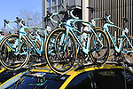Team Lotto NL-Jumbo Bianchi Oltre XR4 team bikes atop the team car before the start of Gent-Wevelgem in Flanders Fields 2017, running 249km from Denieze to Wevelgem, Flanders, Belgium. 26th March 2017.<br /> Picture: Eoin Clarke | Cyclefile<br /> <br /> <br /> All photos usage must carry mandatory copyright credit (&copy; Cyclefile | Eoin Clarke)