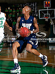 Jackson State Tigers guard Jenirro Bush (1) in action during the game between the Jackson State Tigers and the University of North Texas Mean Green at the North Texas Coliseum,the Super Pit, in Denton, Texas. UNT defeated Jackson State 69 to 55.