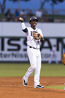 AFL West shortstop Lucius Fox (5), of the Peoria Javelinas and the Tampa Bay Rays organization, tosses the ball to Vladimir Guerrero Jr. (not pictured) during the Arizona Fall League Fall Stars game at Surprise Stadium on November 3, 2018 in Surprise, Arizona. The AFL West defeated the AFL East 7-6 . (Zachary Lucy/Four Seam Images)