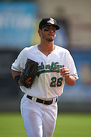 Clinton LumberKings outfielder Austin Cousino (26) jogs to the dugout during a game against the Great Lakes Loons on August 16, 2015 at Ashford University Field in Clinton, Iowa.  Great Lakes defeated Clinton 3-2.  (Mike Janes/Four Seam Images)
