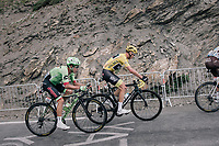 GC top riders Chris Froome (GBR/SKY) & Rigoberto Uran (COL/Cannondale-Drapac) tailing Romain Bardet (FRA/AG2R-La Mondiale) up the highest point in the 2017 TdF: The Galibier (HC/2642m/17.7km/6.9%)<br /> <br /> 104th Tour de France 2017<br /> Stage 17 - La Mure › Serre-Chevalier (183km)