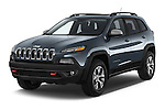 2014 Volkswagen Cherokee Trailhawk 4X4 5 Door SUV angular front stock photos of front three quarter view