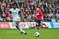 Saturday 17 August 2013<br /> <br /> Pictured: Wilfried Bony of Swansea<br /> <br /> Re: Barclays Premier League Swansea City v Manchester United at the Liberty Stadium, Swansea, Wales