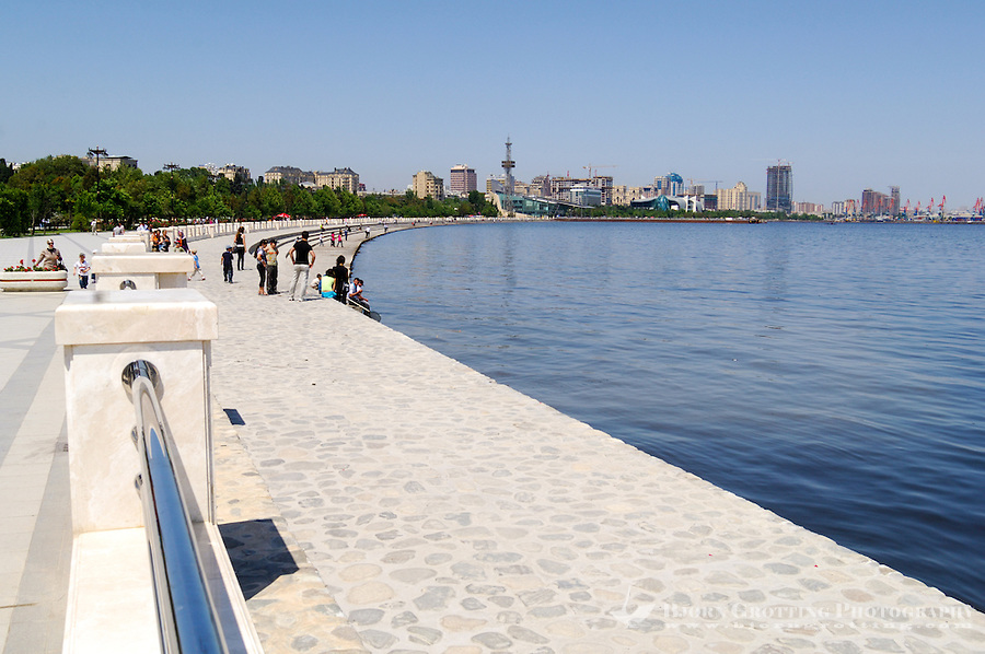 Azerbaijan, Baku. Baku Boulevard is a promenade that runs parallel to Baku's seafront. Baku Business Center in the background.