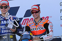 Dani Pedrosa and Jorge Lorenzo podium  at Grand Prix Alacañiz 2012