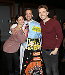 Idina Menzel, Curtis Holbrook and James Snyder during the Broadway Opening Night  AEA Gypsy Robe Ceremony honoring Curtis Holbrook for  'IF/THEN' at the Richard Rodgers Theatre on March 30, 2014 in New York City.