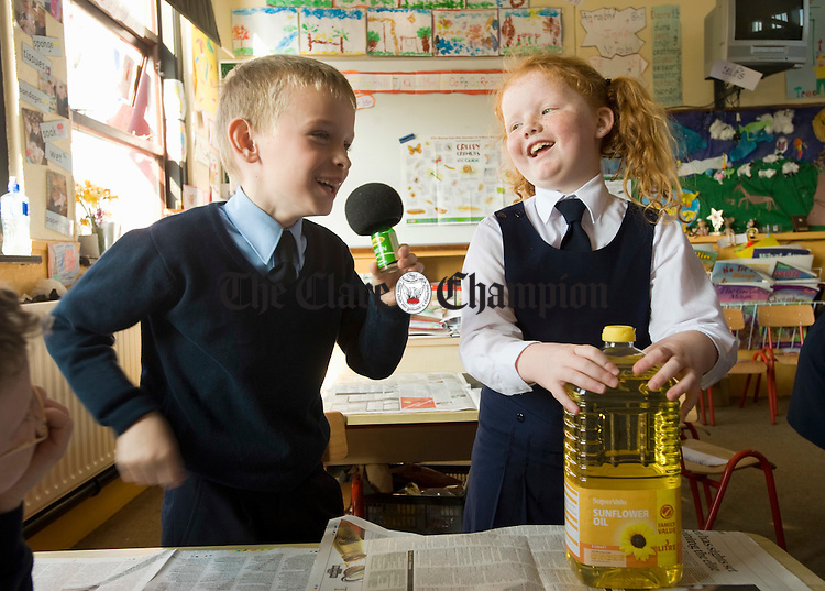 Tomas Coleman and Isolde Slattery having fun in science class at Scoil Mhuire NS Lahinch. Photograph by John Kelly.