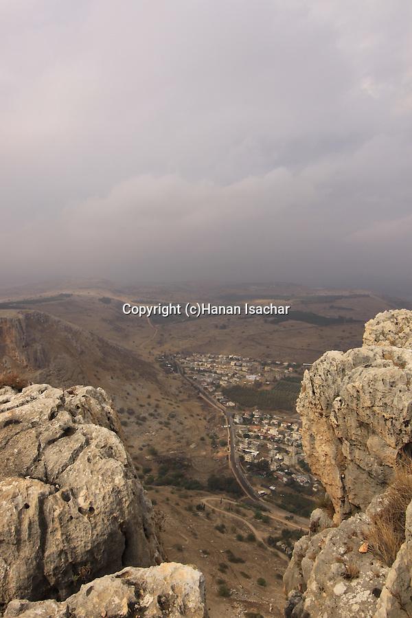 Israel, Lower Galilee, Arab village Hamam in Nahal Arbel (Wadi Hamam) as seen from Mount Arbel