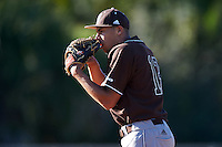 St. Bonaventure Bonnies starting pitcher Aaron Phillips (13) looks in for the sign during a game against the Dartmouth Big Green on February 25, 2017 at North Charlotte Regional Park in Port Charlotte, Florida.  St. Bonaventure defeated Dartmouth 8-7.  (Mike Janes/Four Seam Images)