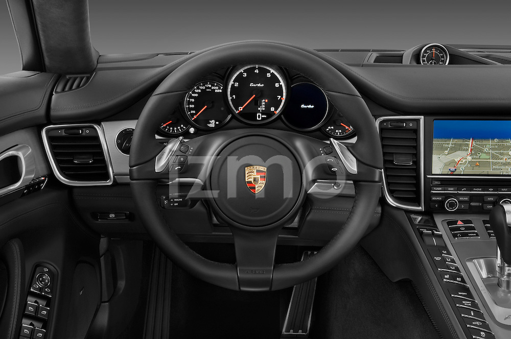 Steering wheel view of a 2010 Porsche Panamera Turbo