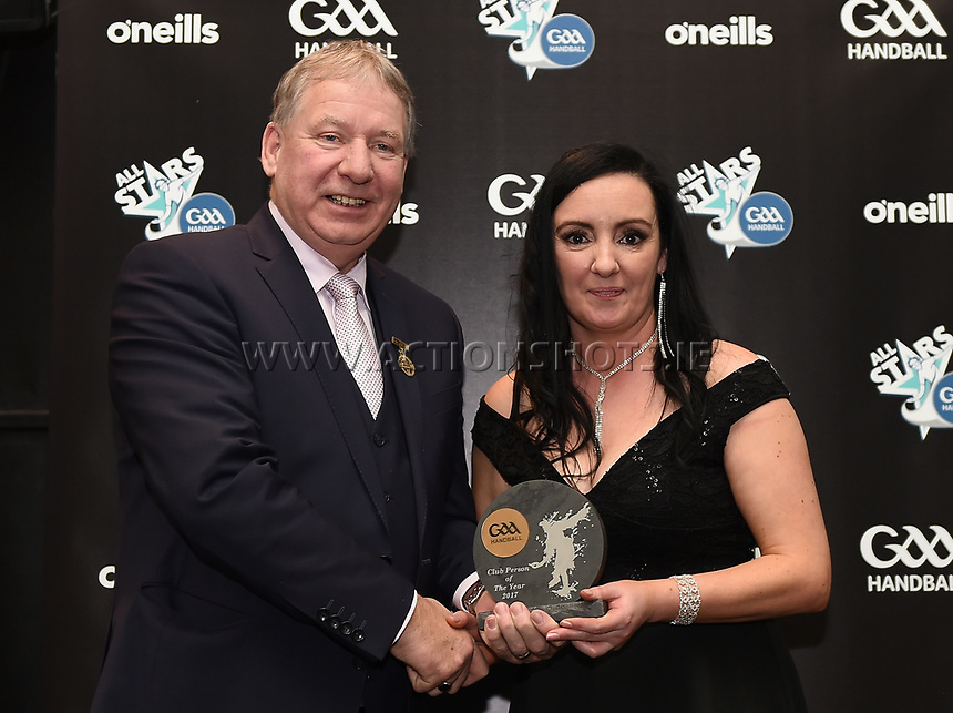 03/02/2018; GAA Handball All-Stars Awards 2018; Croke Park, Dublin;<br /> Michelle Warren is presented with the Club Person of the Year award from GAA Handball President Joe Masterson.<br /> Photo Credit: actionshots.ie/Tommy Grealy