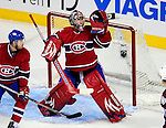 15 October 2009: Montreal Canadiens' goaltender Carey Price keeps a look out for a rebound in the third period against the Colorado Avalanche at the Bell Centre in Montreal, Quebec, Canada. The Avalanche edged out the Habs 3-2 in Montreal's season home opener. Mandatory Credit: Ed Wolfstein Photo