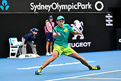 10th January 2018, Sydney Olympic Park Tennis Centre, Sydney, Australia; Sydney International Tennis, round 2; Alex De Minaur (AUS)  hits a forehand return in his match against Damir Dzumhur (BIH)