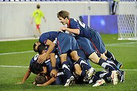 Alejandro Guido (10) of the USA celebrates scoring with teammates. The USMNT U-17 defeated New York Red Bulls U-18 4-1 during a friendly at Red Bull Arena in Harrison, NJ, on October 09, 2010.