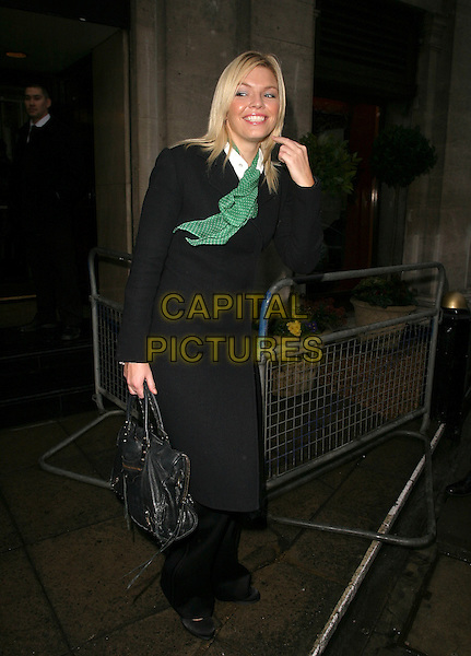 KATE THORNTON.Leaving The TRIC Awards (Television & Radio Industries Club) at the Great Room, Grosvenor House, Park Lane, Londnn, UK..March 7th, 2006.Ref: AH.full length black coat bag purse green polka dot scarf.www.capitalpictures.com.sales@capitalpictures.com.© Capital Pictures.
