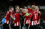Oli McBurnie of Sheffield Utd and team mates celebrate his goal during the Premier League match at Bramall Lane, Sheffield. Picture date: 10th January 2020. Picture credit should read: Chloe Hudson/Sportimage