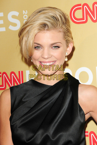 ANNALYNNE McCORD .at The 3rd Annual CNN Heroes: An All-Star Tribute held at The Kodak Theatre in Hollywood, California, USA,  November 21st 2009                                                                   .portrait headshot smiling hair up pearl earrings black silk satin sleeveless.CAP/RKE/DVS.©DVS/RockinExposures/Capital Pictures