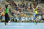 GER - Mannheim, Germany, September 23: During the DKB Handball Bundesliga match between Rhein-Neckar Loewen (yellow) and TVB 1898 Stuttgart (white) on September 23, 2015 at SAP Arena in Mannheim, Germany. Final score 31-20 (19-8) .  Sebastian Arnold #16 of TVB 1898 Stuttgart, Patrick Groetzki #24 of Rhein-Neckar Loewen<br /> <br /> Foto &copy; PIX-Sportfotos *** Foto ist honorarpflichtig! *** Auf Anfrage in hoeherer Qualitaet/Aufloesung. Belegexemplar erbeten. Veroeffentlichung ausschliesslich fuer journalistisch-publizistische Zwecke. For editorial use only.