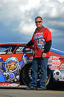 Nov. 9, 2012; Pomona, CA, USA: NHRA pro stock driver Kurt Johnson poses for a picture during qualifying for the Auto Club Finals at at Auto Club Raceway at Pomona. Mandatory Credit: Mark J. Rebilas-