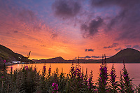 Sunrise over the International Port of Dutch Harbor, Aleutian Islands, Alaska