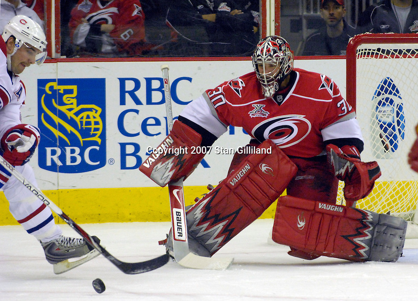 Carolina Hurricanes goalie Cam Ward makes a save against the Montreal Canadiens during their game Friday, Oct. 26, 2007 in Raleigh, NC. The Canadiens won 7-4.