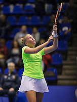 Rotterdam,Netherlands, December 15, 2015,  Topsport Centrum, Lotto NK Tennis, Wheelchair tennis, Kelly Versteeg (NED) reacs<br /> Photo: Tennisimages/Henk Koster