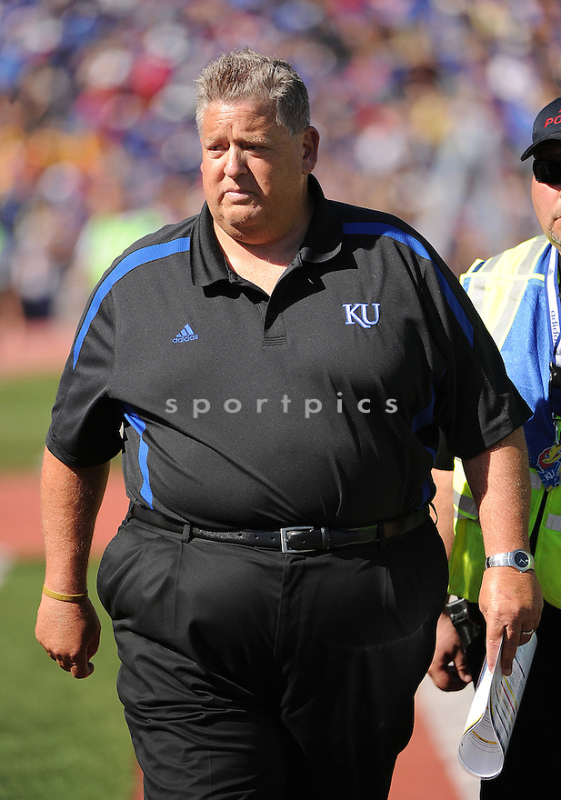 Kansas Jayhawks Charlie Weis (HC) in action during a game against the Rice Owls on September 8, 2012 at Memorial Stadium in Lawrence, KS. Rice beat Kansas 25-24.