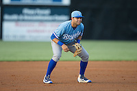 Burlington Royals third baseman Emmanuel Rivera (24) on defense against the Danville Braves at American Legion Post 325 Field on August 16, 2016 in Danville, Virginia.  The game was suspended due to a power outage with the Royals leading the Braves 4-1.  (Brian Westerholt/Four Seam Images)