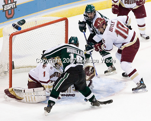 Cory Schneider (Boston College - Marblehead, MA), Chris Mueller (Michigan State - West Seneca, NY), Bryan Lerg (Michigan State - Livonia, MI), Brian Boyle (Boston College - Hingham, MA) - The Michigan State Spartans defeated the Boston College Eagles 3-1 (EN) to win the national championship in the final game of the 2007 Frozen Four at the Scottrade Center in St. Louis, Missouri on Saturday, April 7, 2007.