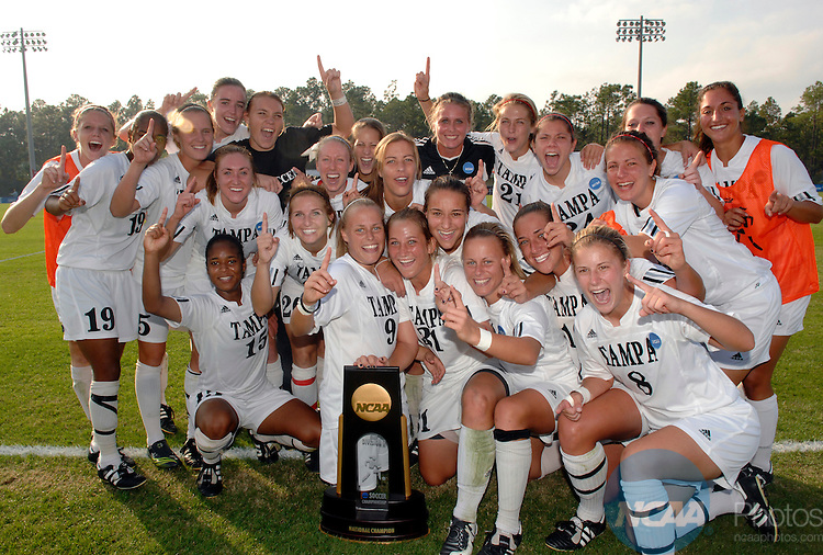 01 DEC 2007:  The University of Tampa team celebrates after winning the Division II Women's Soccer Championship held at the City of Orange Beach Sportsplex in Orange Beach, AL. The University of Tampa defeated Franklin Pierce 3-1 for the national title. Stephen Nowland/NCAA Photos
