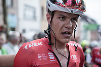 stage winner Jasper Stuyven's (BEL/Trek Segafredo) post-race face<br /> <br /> Binckbank Tour 2017 (UCI World Tour)<br /> Stage 7: Essen (BE) &gt; Geraardsbergen (BE) 191km