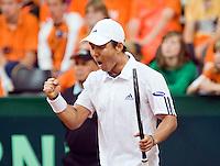 21-9-08, Netherlands, Apeldoorn, Tennis, Daviscup NL-Zuid Korea, :    HyungTaik Lee winning