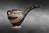 "Minoan Vasiliki Ware long spouted ""teapots"", Vasiliki 2300-1900 BC BC, Heraklion Archaeological  Museum, grey background."