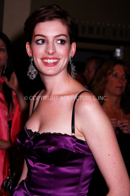 WWW.ACEPIXS.COM . . . . .  ....November 12 2007, New York City....Actress Anne Hathaway arriving at The Christopher & Dana Reeve Foundation's 'A Magical Evening' Gala at the Marriot Marquis Hotel in Manhattan....Please byline: AJ Sokalner - ACEPIXS.COM..... *** ***..Ace Pictures, Inc:  ..te: (646) 769 0430..e-mail: info@acepixs.com..web: http://www.acepixs.com